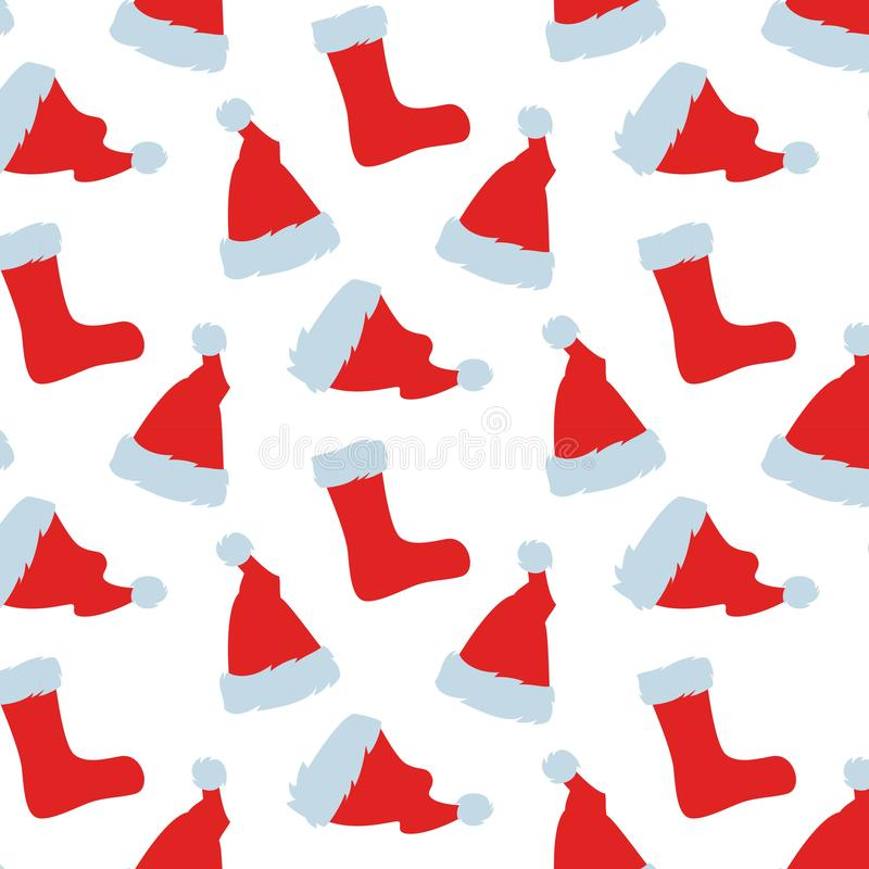 Seamless pattern with Red hats of Santa Claus. stock illustration