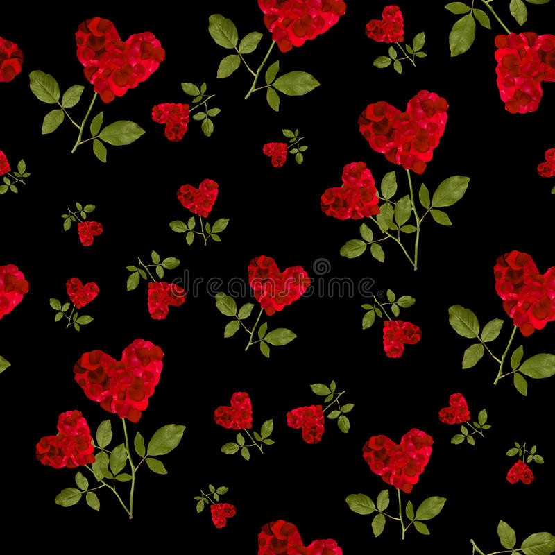 Seamless pattern red heart rose petals. On a stalk of green leaves on black background royalty free stock photography
