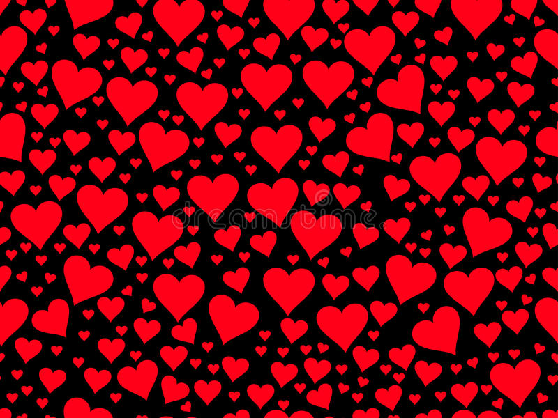 Seamless pattern with red hearts on a black background. Valentine`s Day. Vector. Illustration royalty free illustration