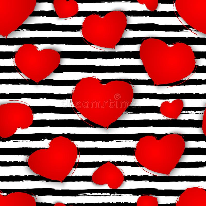Seamless pattern with red hearts on black and white stripes background. Vector illustration stock illustration