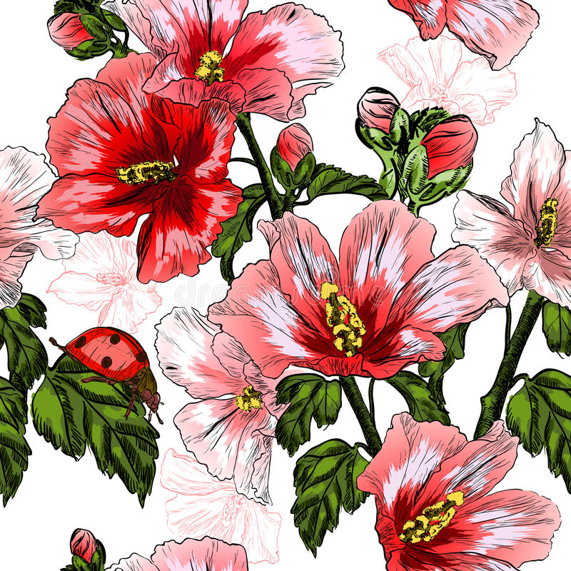 Seamless pattern with red Hibiscus flowers and ladybird stock illustration