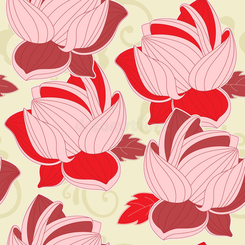 Seamless pattern with  red lotus