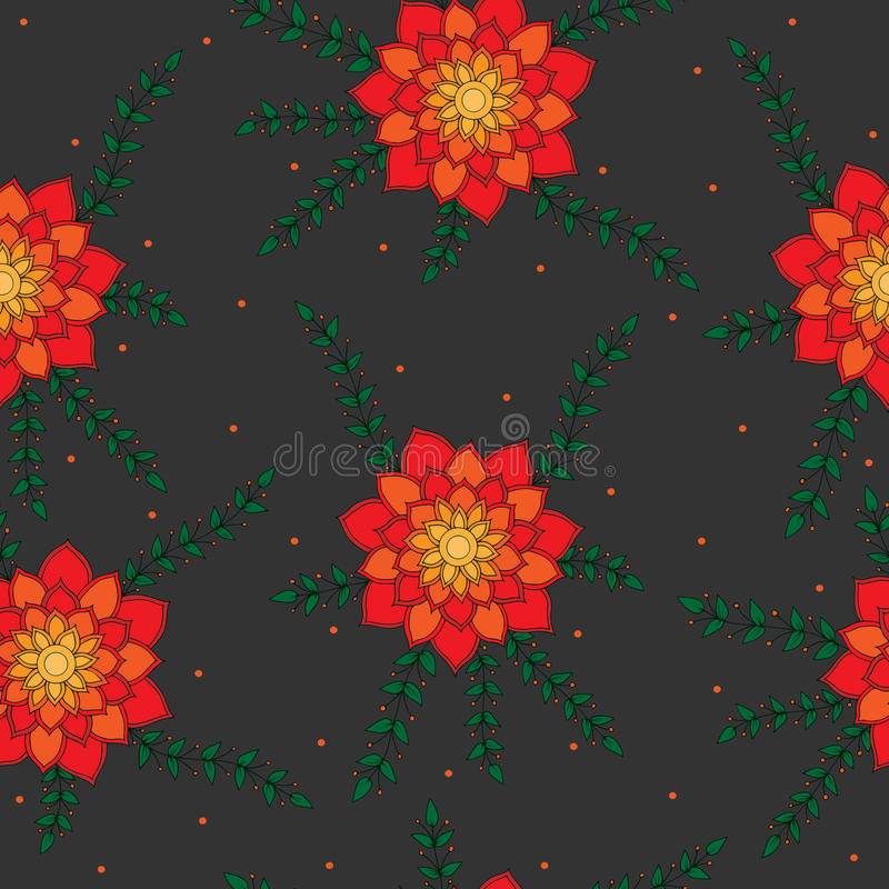Seamless pattern with red and orange abstract flower on the grey stock illustration