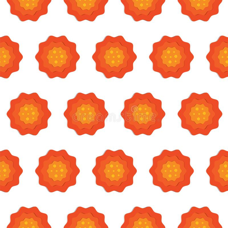 Seamless pattern of red and orange 3d flowers cut paper. Paper cut style. Floral trendy creative wallpaper. Stylish nature spring royalty free illustration