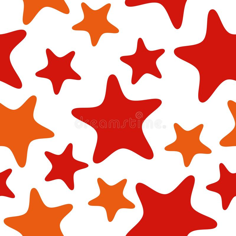 Seamless pattern with red and orange stars. Abstract repeat background, colorful cartoon illustration. Seamless underwater sea pattern with starfish. Abstract stock illustration