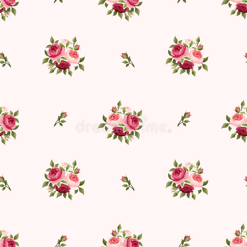 Seamless pattern with red and pink roses. Vector illustration. Vector seamless pattern with red and pink English roses on a pink background stock illustration