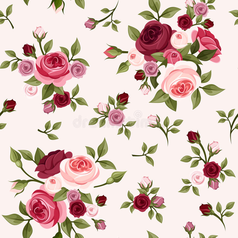 Seamless pattern with red and pink roses. Vector illustration. Vector vintage seamless pattern with red and pink English roses, rose buds and leaves vector illustration