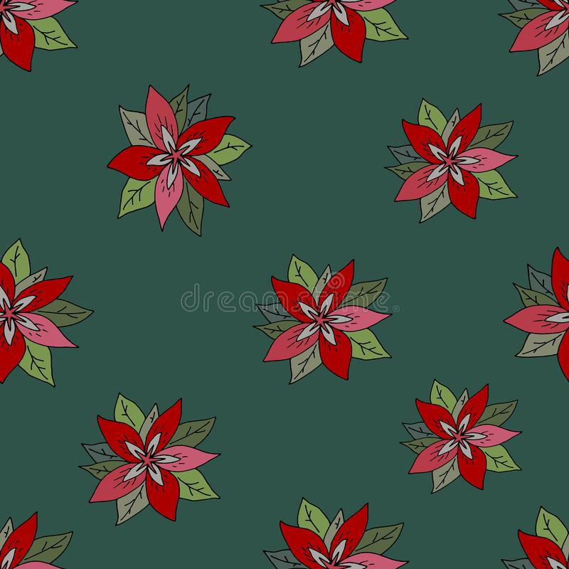 Seamless pattern with red poinsettia on green background. Red flowers on a green background. royalty free illustration