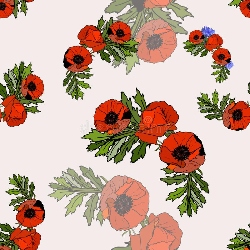 SEamless pattern with red poppies and cornflowers.  royalty free illustration