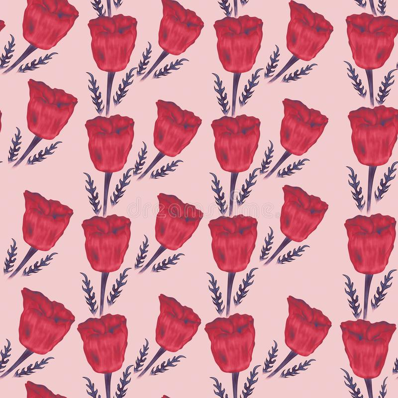 Seamless pattern from red poppies on the rose background. stock photography