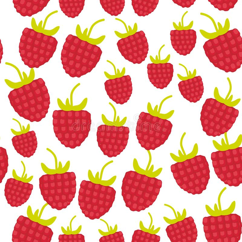 Seamless pattern Red ripe raspberries Fresh juicy berries isolated on white background. Vector vector illustration