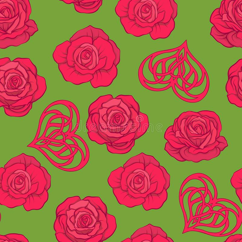 Seamless pattern with red roses and love heart on green background. Stock vector. stock illustration
