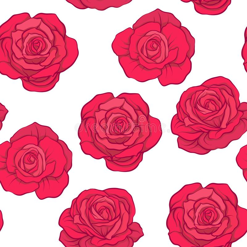Seamless pattern with red roses on white background. Stock vector. stock illustration