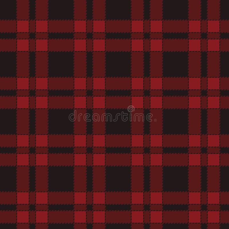 Seamless pattern of red tartan. stock illustration