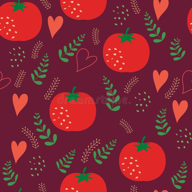 Seamless pattern with red tomatoes. Red hearts in simple outline style. Vector illustration royalty free illustration
