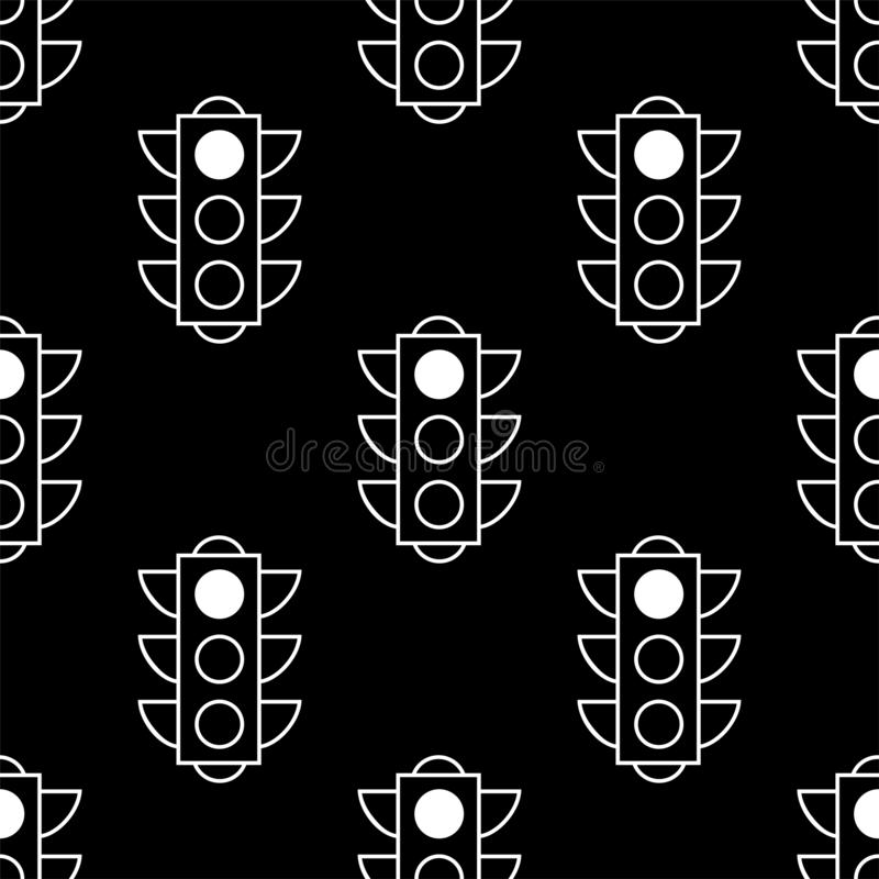 Seamless pattern of red traffic lights on black background. Flat design vector illustration. Repeating elements. Can be used for stock illustration
