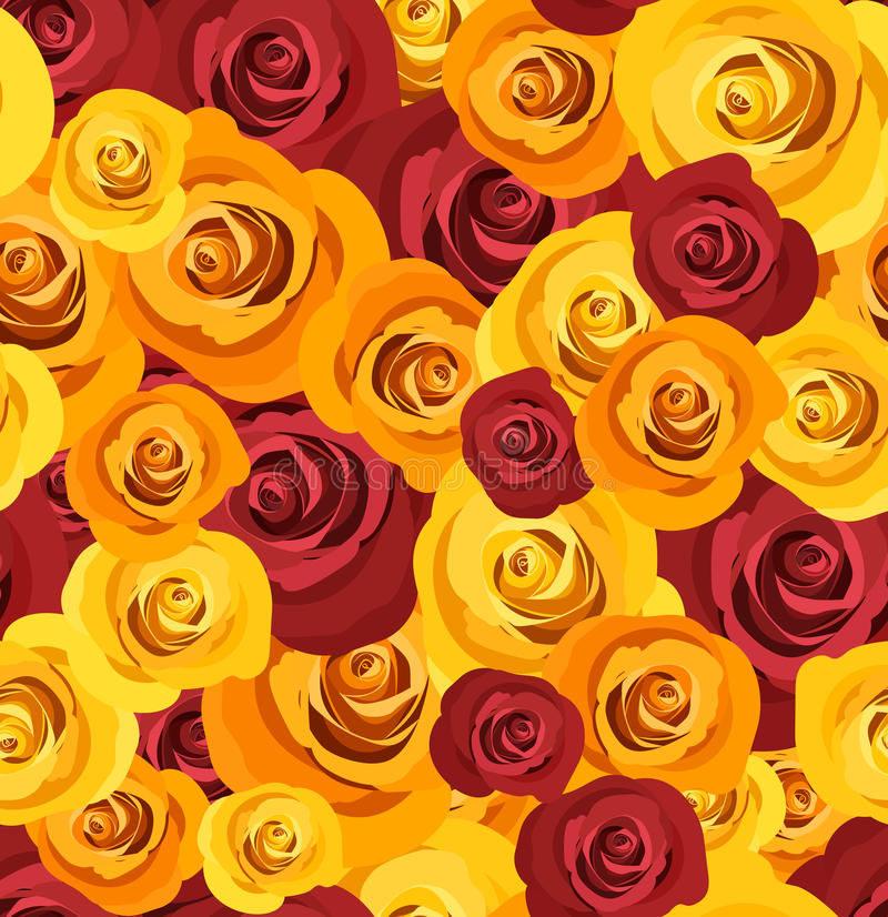 Seamless pattern with red and yellow roses. Vector vector illustration