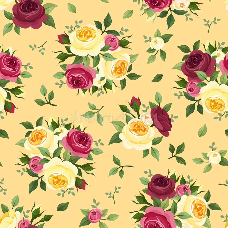 Seamless pattern with red and yellow roses. stock illustration