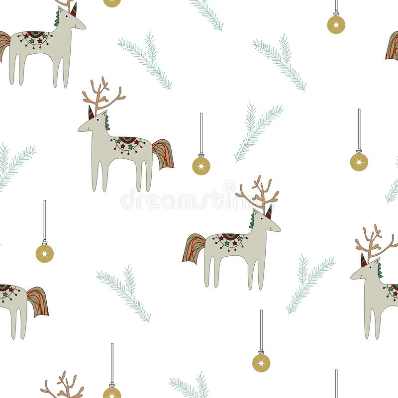 Reindeer with unicorn horns royalty free illustration