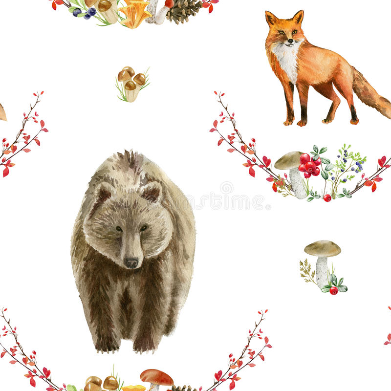 Seamless pattern repeated tile of watercolor animals stock illustration