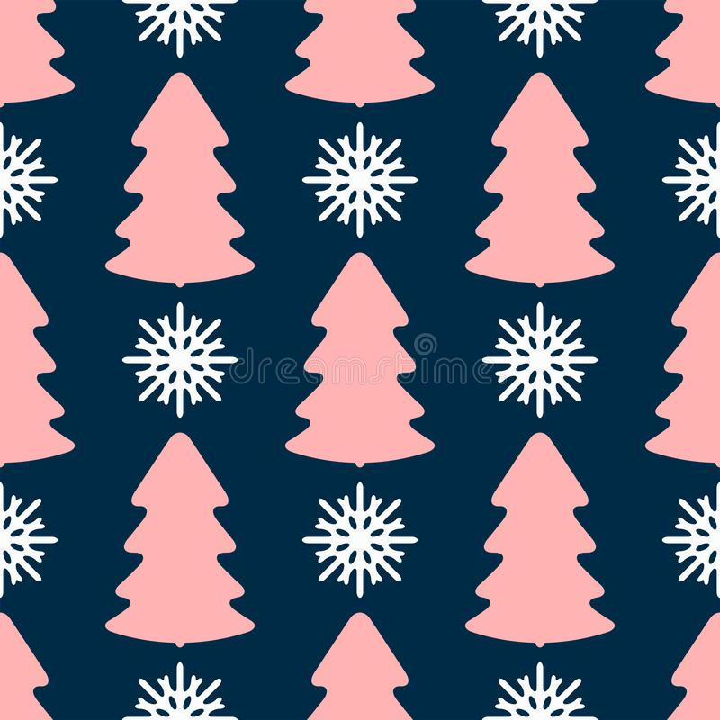 Seamless pattern with repeating colored silhouettes of snowflakes and Christmas trees. New year print. royalty free illustration