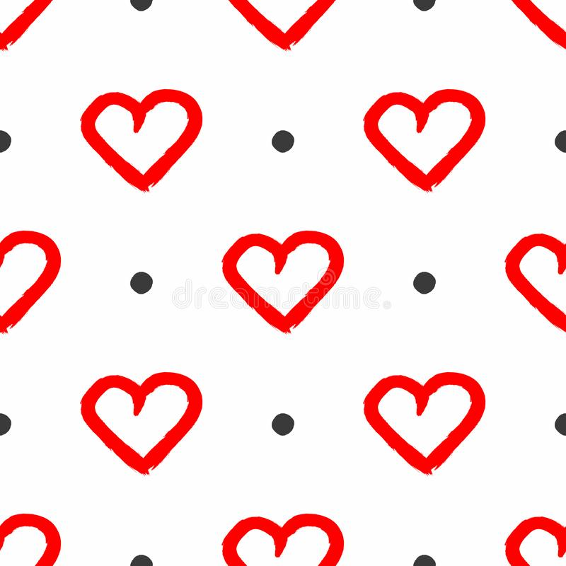 Seamless pattern with repeating round dots and hearts drawn by hand with a rough brush. Grunge, graffiti, paint. stock illustration