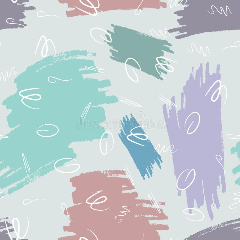 Seamless pattern with repeating watercolour brush strokes and abstract scribbles. vector illustration