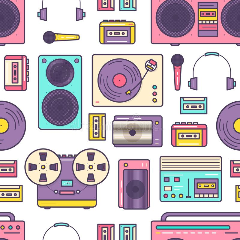 Seamless pattern with retro analog music player, reel-to-reel and cassette recorder, turntable, headphones, microphone stock illustration
