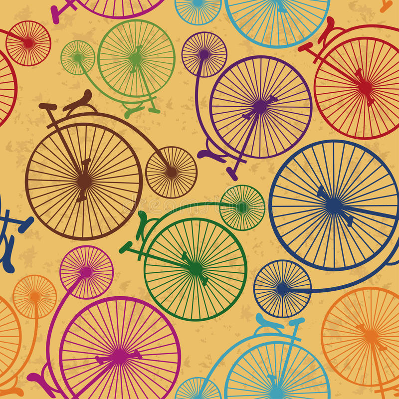 Seamless pattern of retro bicycles. Seamless pattern of colorful retro bicycles on a vintage background stock illustration