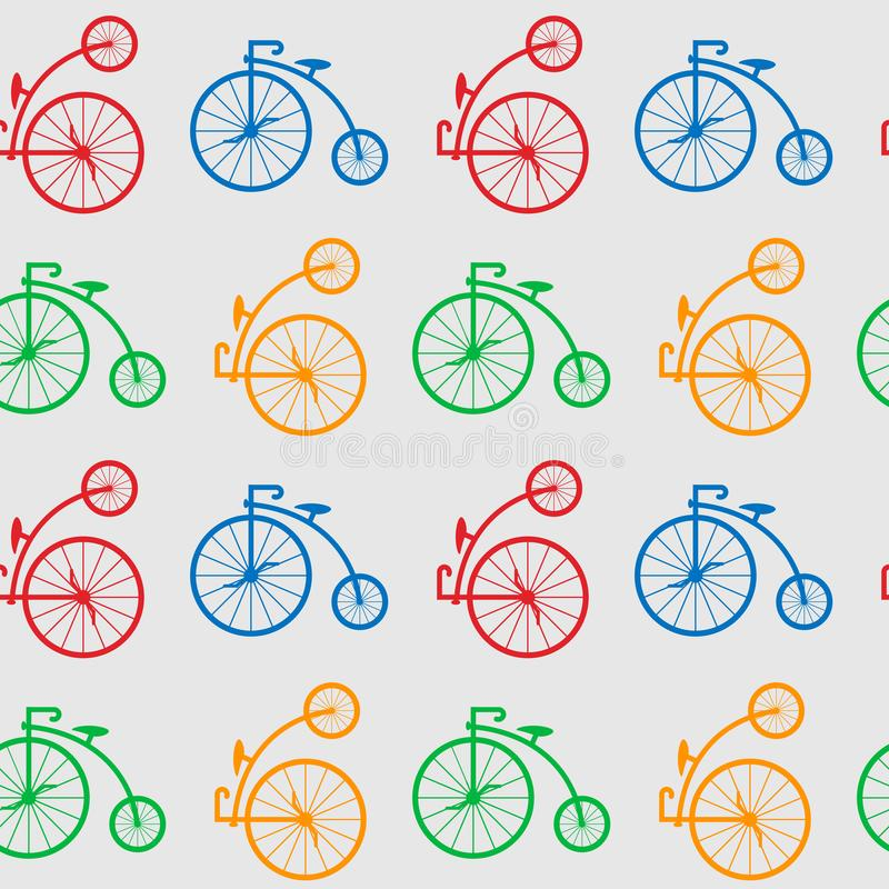 Seamless pattern with retro big wheel bicycles. multicolored antique old bicycle with big wheels Penny-farnet. royalty free illustration
