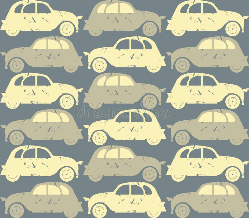 Seamless pattern with retro cars stock illustration