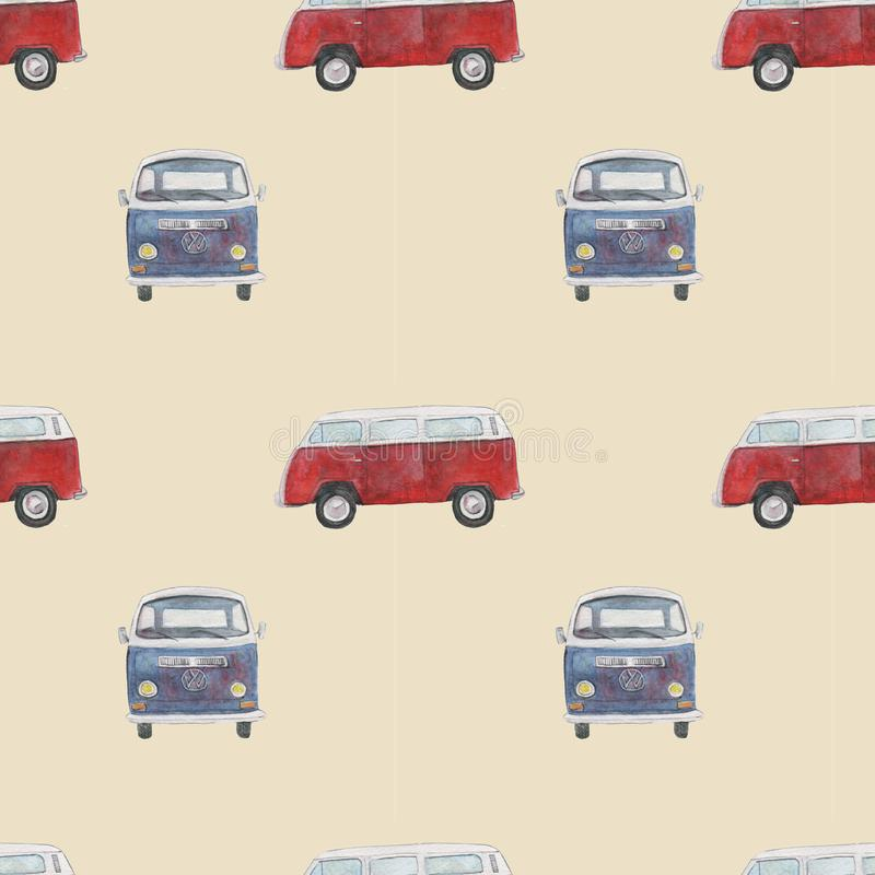 Seamless pattern with retro cars royalty free illustration