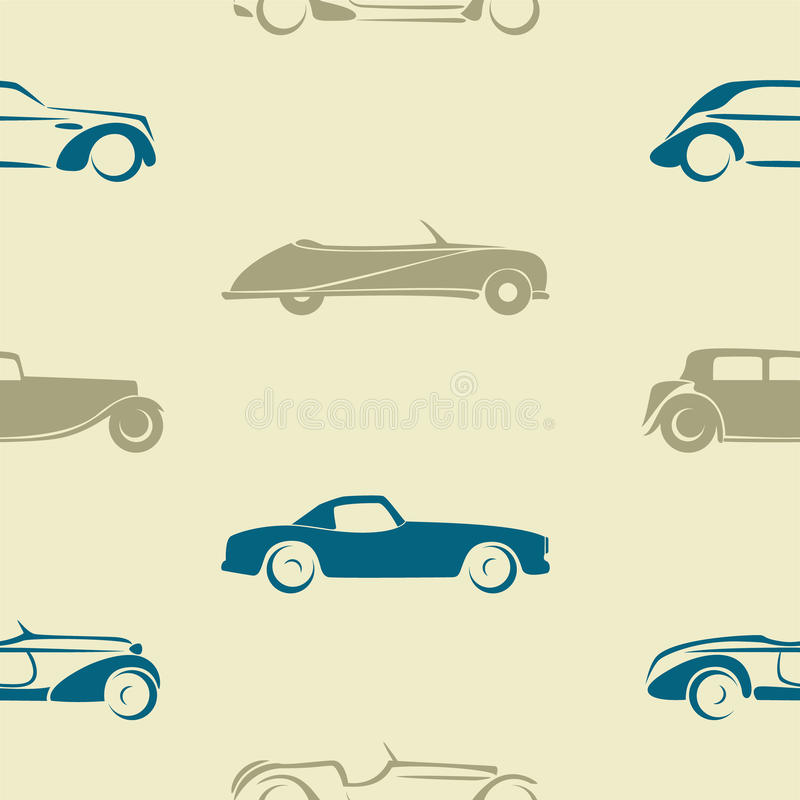 Seamless pattern with retro cars. royalty free illustration