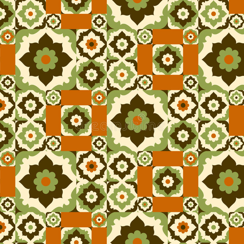 Seamless pattern retro ceramic tile design with floral ornate. vector illustration