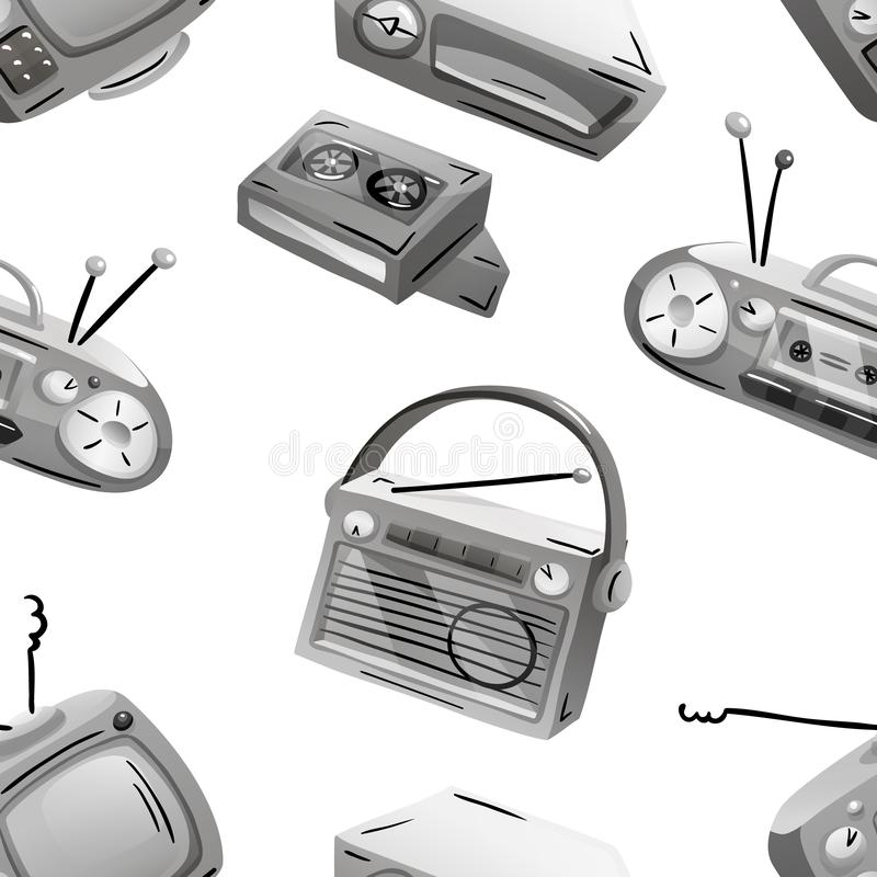 Seamless pattern with retro devices in grayscale. Vector illustration isolated on white royalty free illustration