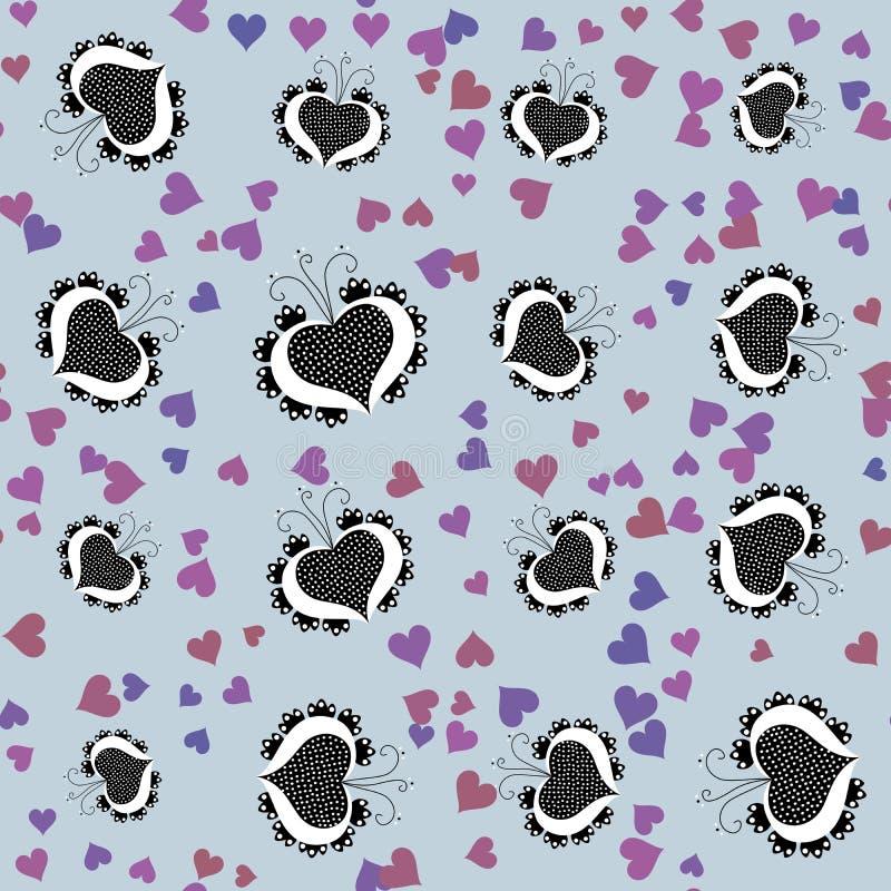 Seamless pattern with retro folklore cartoon hearts royalty free stock photos