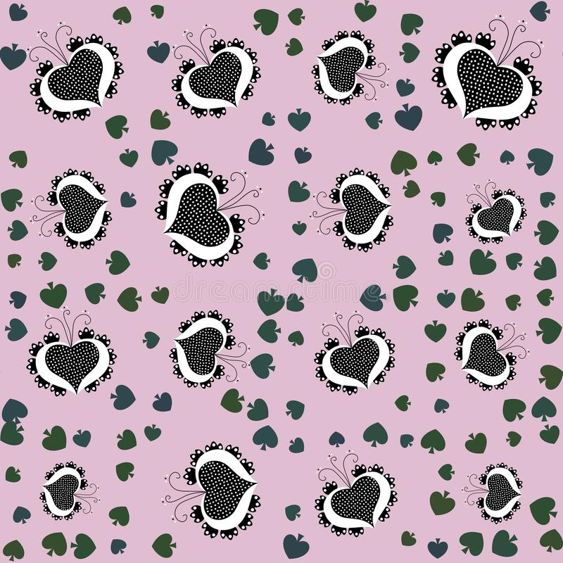 Seamless pattern with retro folklore cartoon hearts stock photo