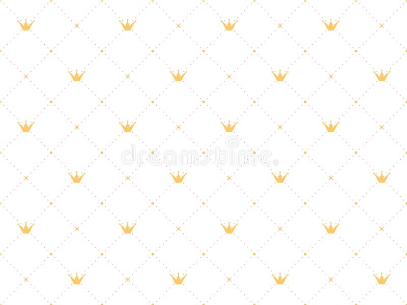 Seamless pattern in retro style with a gold crown and pink polka dots stock illustration