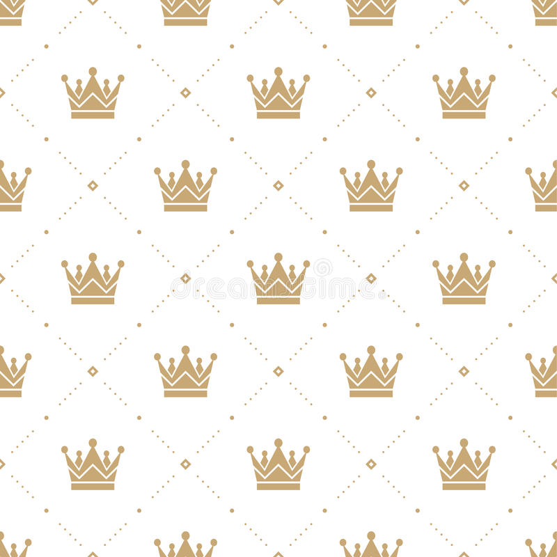 Seamless pattern in retro style with a gold crown on a white background. Can be used for wallpaper, pattern fills, web royalty free illustration