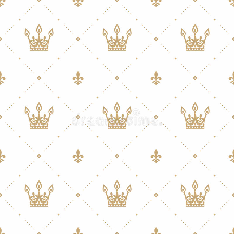 Seamless pattern in retro style with a gold crown on a white background. Can be used for wallpaper, pattern fills, web vector illustration