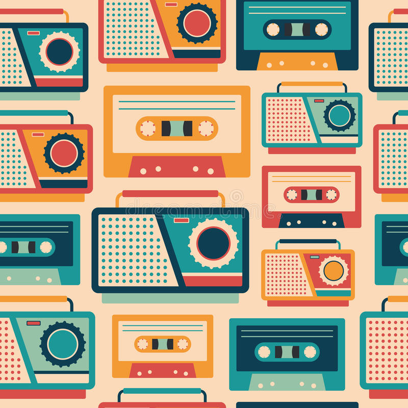 Seamless pattern with retro tape recorders and cassettes. royalty free illustration