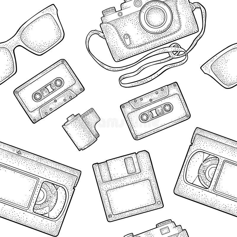 Seamless pattern retro technology object. Vintage vector black engraving illustration. Seamless pattern retro technology object. Floppy disk, photo film in royalty free illustration