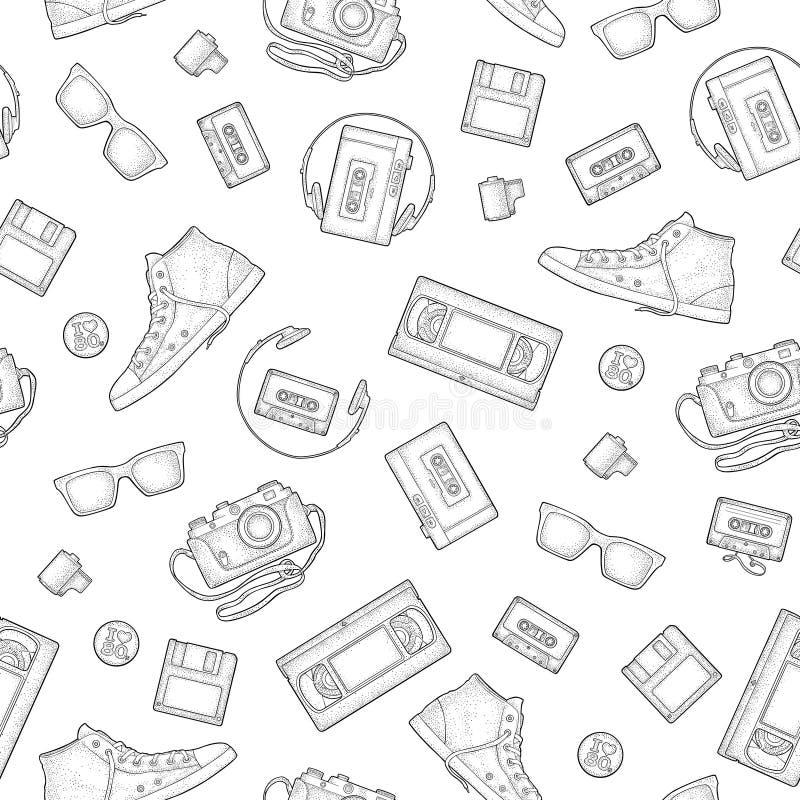 Seamless pattern retro technology object. Vintage vector black engraving illustration. Seamless pattern retro technology object. Floppy disk, photo film in vector illustration