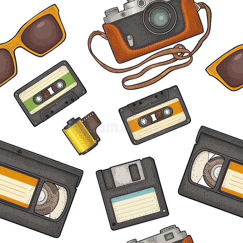 Seamless pattern retro technology object. Vintage vector color engraving illustration. Seamless pattern retro technology object. Floppy disk, photo film in vector illustration
