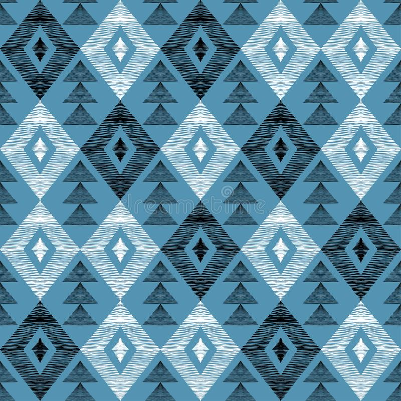 Pattern of shaded geometric shapes. Seamless pattern of rhombuses and triangles. Pattern in the style of ethno. Rhombus and hand-shaded triangles stock illustration