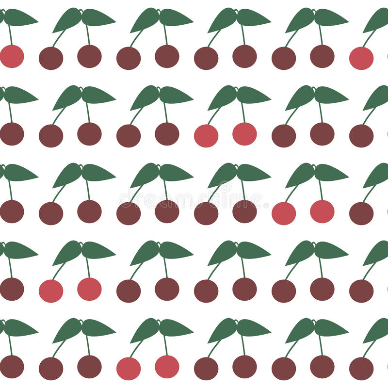 Seamless Pattern with Ripe Cherries. Summer Cherry stock illustration