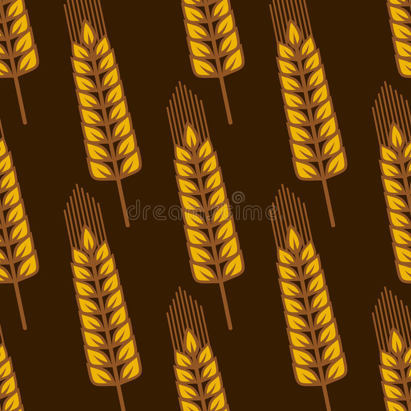 Seamless pattern with ripe golden wheat ears. Agricultural seamless pattern with oblique ripe golden wheat ears on brown vector illustration