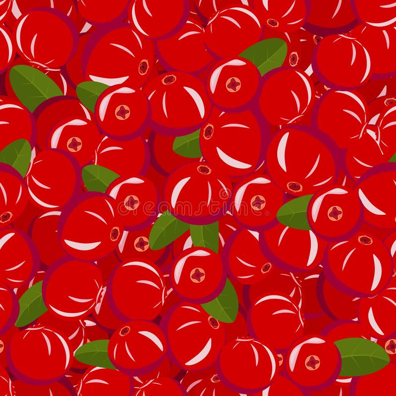 Seamless pattern from ripe red cranberries with green leaves royalty free illustration