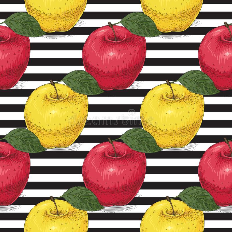 Seamless Pattern. Ripe Red and Yellow Apples vector illustration