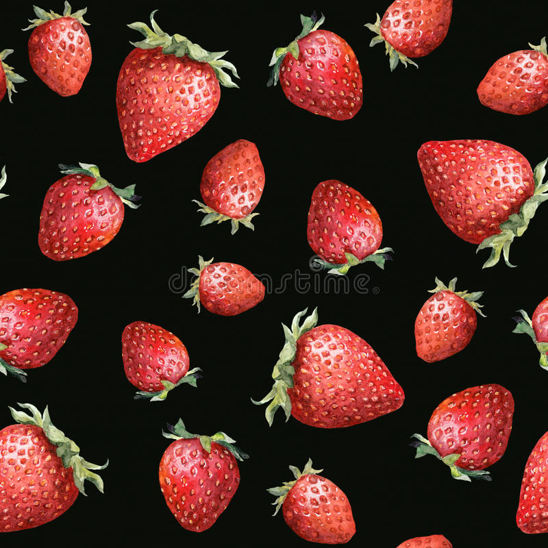 Seamless pattern - ripe strawberry on black background. Watercolor art royalty free stock photo
